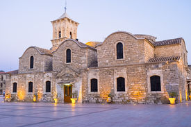stock photo of larnaca  - The St Lazarus church of Larnaca is the pearl of the byzantine architecture in Cyprus - JPG