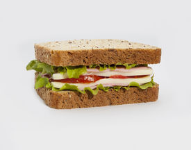 picture of oats  - Delicious healthy sandwich on the white background - JPG