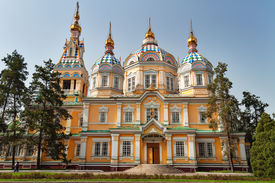 picture of ascension  - Ascension Cathedral is a Russian Orthodox cathedral located in Panfilov Park in Almaty Kazakhstan - JPG