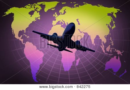 Picture or Photo of World map on grid globe with airplane
