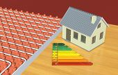 pic of floor heating  - close up view of a floor heating system with a small house and an energy efficiency scale  - JPG
