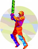 stock photo of bat  - Low polygon style illustration of a cricket player batsman with bat batting set inside circle - JPG