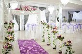 stock photo of banquet  - white Banquet wedding setting on evening reception - JPG
