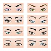 image of eyebrows  - Collection of female eyes and eyebrows of different shapes different colors with and without makeup - JPG