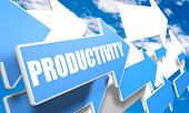 picture of productivity  - Productivity 3d render concept with blue and white arrows flying in a blue sky with clouds - JPG