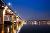 stock photo of guinness  - Banpo Bridge at night Seoul - JPG