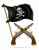stock photo of pistols  - pirate flag and pistols vector illustration isolated on white background - JPG