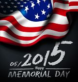 image of memorial  - Memorial day vector illustration with US flag and congratulations on the chalkboard - JPG