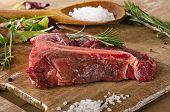 picture of t-bone steak  - Raw beef t - JPG