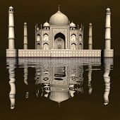 image of mausoleum  - Famous Taj Mahal mausoleum and its mirror reflection by day - JPG