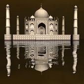 stock photo of mausoleum  - Famous Taj Mahal mausoleum and its mirror reflection by day - JPG