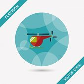 image of rescue helicopter  - Transportation Helicopter Flat Icon With Long Shadow - JPG