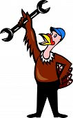 picture of wild turkey  - Illustration of a wild turkey mechanic standing holding spanner set on isolated white background done in cartoon style - JPG