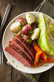 foto of st patty  - Homemade Corned Beef and Cabbage with Carrots and Potatoes - JPG