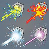 picture of laser beam  - A set of metallic shields against 4 power beam  - JPG