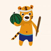 stock photo of cute tiger  - Summer Animal Tiger Flat Icon Elements Background - JPG