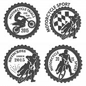 picture of motorcycle  - Set of motorcycle sports labels with silhouettes of riders - JPG