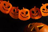 picture of scary face  - Halloween pumpkin head jack lantern with scary evil faces spooky holiday - JPG