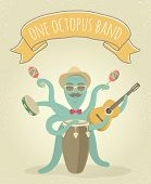 picture of octopus  - Cartoon illustration of latino octopus playing congo - JPG