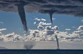 pic of waterspout  - Tornados over mediterranean sea in a sunny winter day