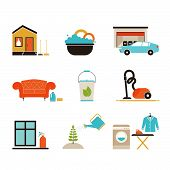picture of cleaning house  - House cleaning vector  - JPG
