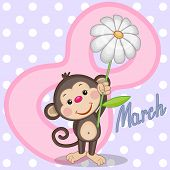 picture of baptism  - Greeting card Monkey with flower on the dots background - JPG