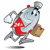 stock photo of stopwatch  - Sympathetic stopwatch running to deliver a package - JPG