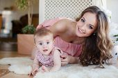 foto of pink eyes  - Young beautiful woman and mother - JPG