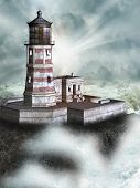 picture of lighthouse  - Fantasy landscape in the ocean with Lighthouse - JPG