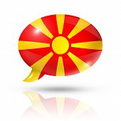 stock photo of macedonia  - three dimensional Macedonia flag in a speech bubble isolated on white with clipping path - JPG