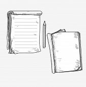 pic of sketch book  - Hand drawn doodle sketch open notebook - JPG