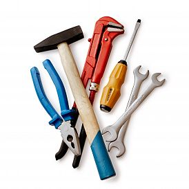 picture of mole  - Assorted DIY tools with a red mole grip or adjustable spanner pliers screwdriver and pair of spanners overhead view on white - JPG