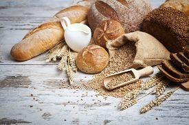 pic of fresh slice bread  - Bakery Bread.Various Bread and Sheaf of Wheat Ears Still-life ** Note: Shallow depth of field - JPG