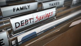 picture of debt free  - File tab with focus on savings - JPG