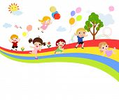 picture of playmates  - Children and rainbow - JPG