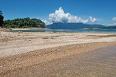 stock photo of damme  - Nam Ngum reservoir in Laos, lake for stream production in Vientiane province