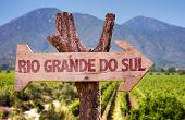 picture of gaucho  - Rio Grande do Sul wooden sign with vineyard background - JPG