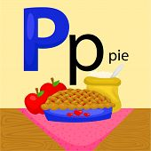 stock photo of letter p  - the letter p for the word pie - JPG