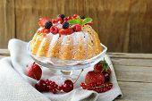 picture of sponge-cake  - festive dessert round sponge cake homemade pastries - JPG