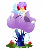 picture of fairy-mushroom  - Cute flower fairy sitting on flower isolated on white - JPG