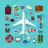 stock photo of passenger ship  - Flat design modern vector icons set of traveling on airplane - JPG