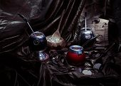 foto of mating  - Yerba mate and calabashes - JPG