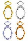pic of oval  - Frame oval mirror 4 color circle isolated on white background - JPG