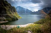 foto of volcanic  - a beautiful volcanic lake in the crater of mount Pinatubo on the island of luson Philippines the largest known eruption  - JPG