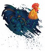 picture of roosters  - Cartoon rooster illustration with grunge ink splatters - JPG