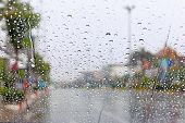 picture of flood-lights  - Water drop on traffic jam and electric light in the rain - JPG