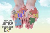 pic of aspergers  - Hands showing against blue sky - JPG