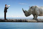 image of yell  - Businessman using speaker yelling at rhinoceros on single wooden bridge with blue sky sea background communication concept - JPG