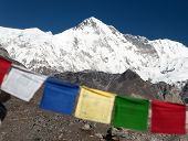image of cho-cho  - Mount Cho Oyu with prayer flags  - JPG