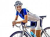 foto of triathlon  - woman triathlon ironman athlete  cyclist cycling on white background - JPG